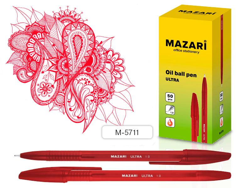 Ручка шариковая КРАСНАЯ, чернила на масляной основе, игольчатый пиш.узел 1.0мм арт М-5711-72